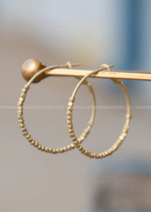"1.5"" Beaded Hoop Earrings, Gold"