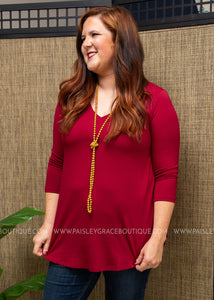 The Haven Top- DK. RED  - FINAL SALE