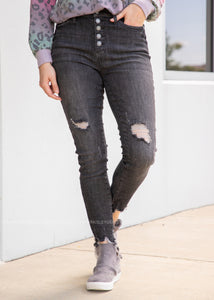 Cora Black Distressed Skinny Jeans