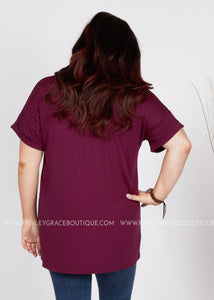 Basic Needs Tee- MERLOT - FINAL SALE