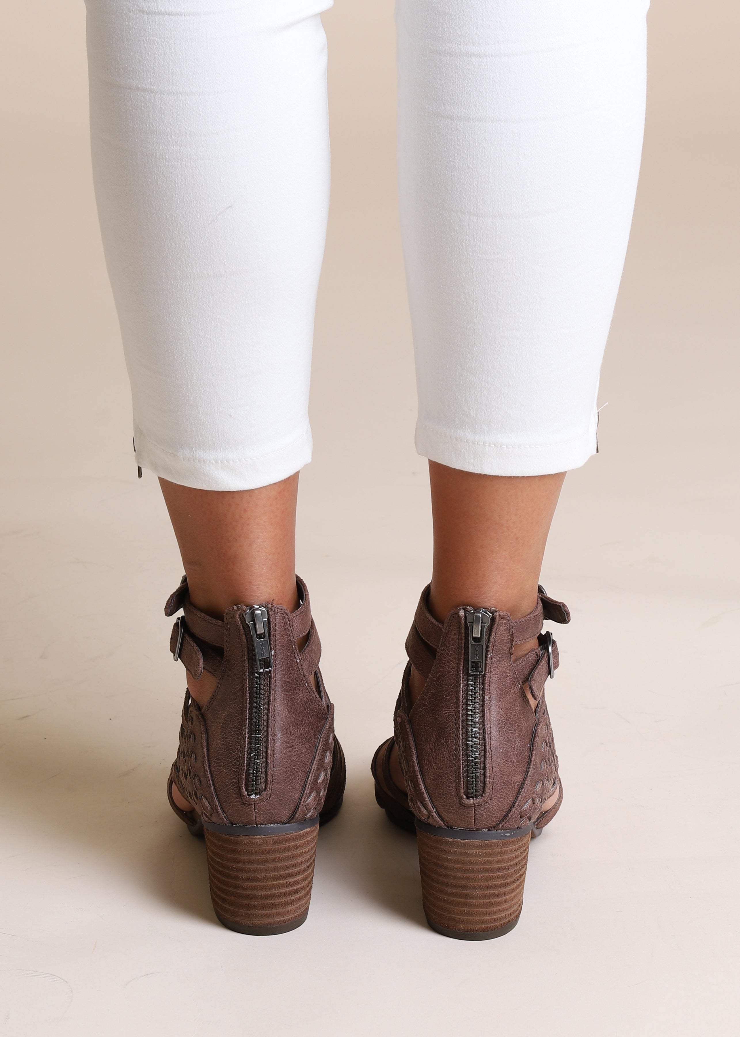 Bella Strappy Booties-TAUPE