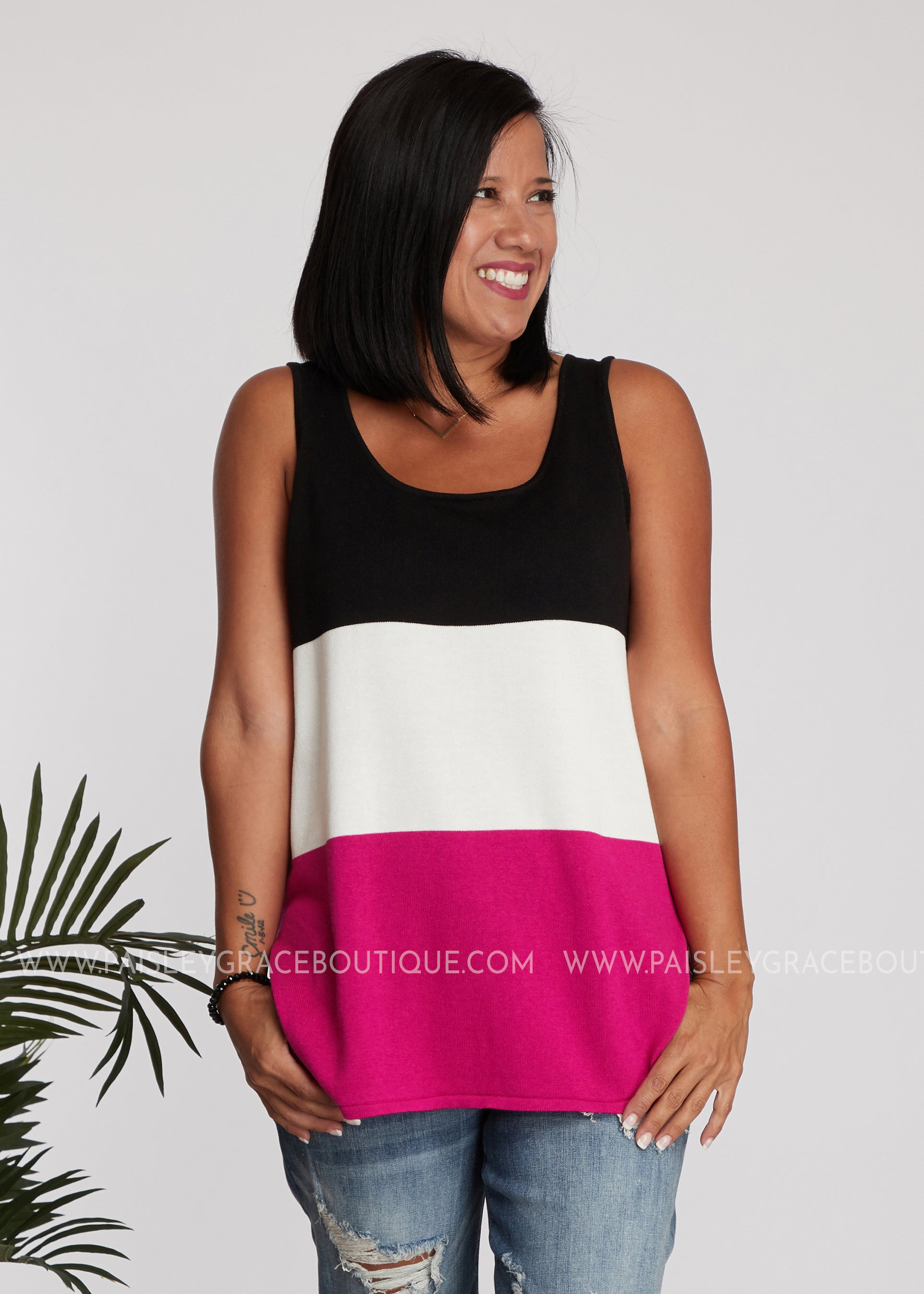Robin Color-Block Tank- BLACK - FINAL SALE