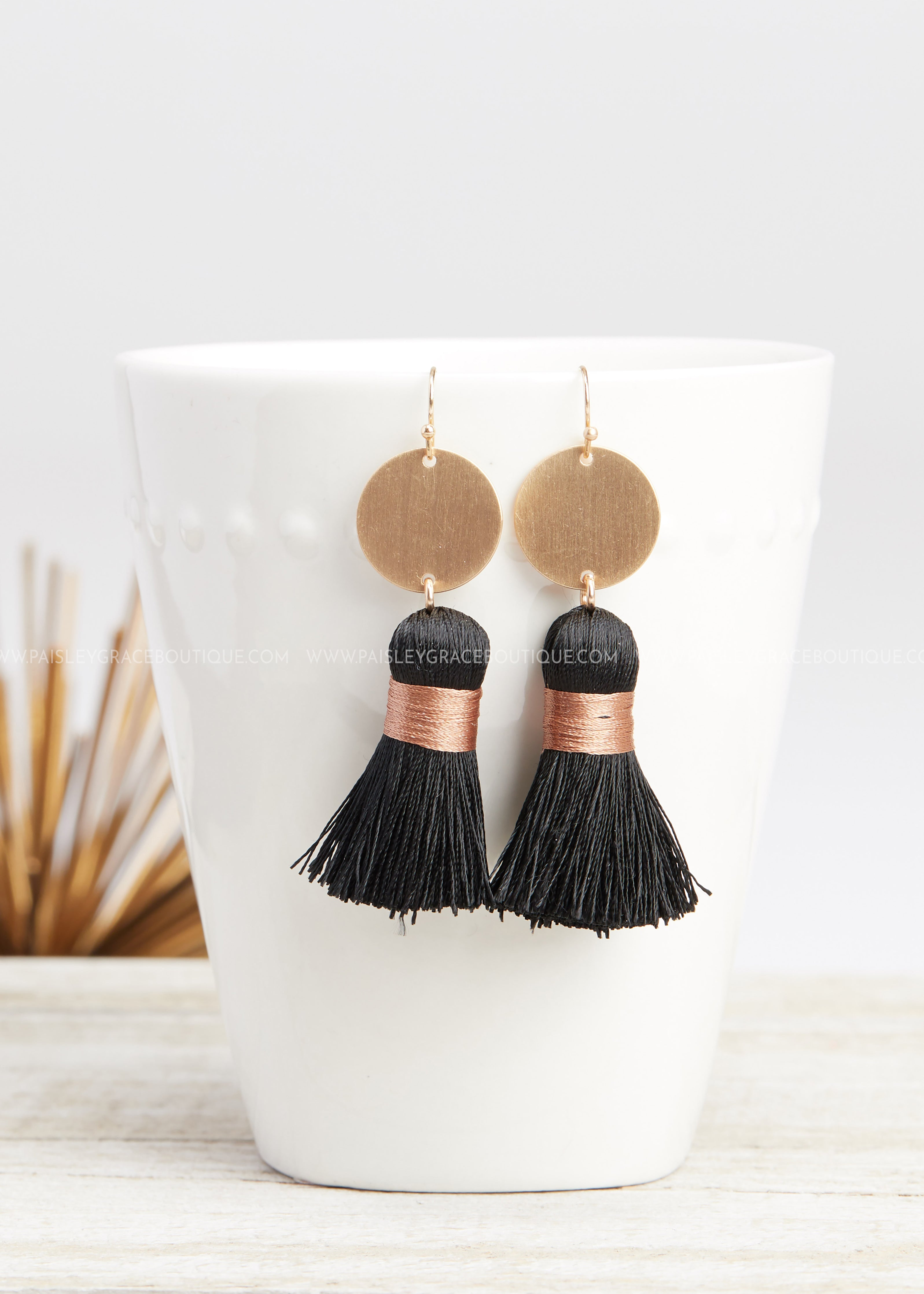 Coin Tassel Earrings -BLACK