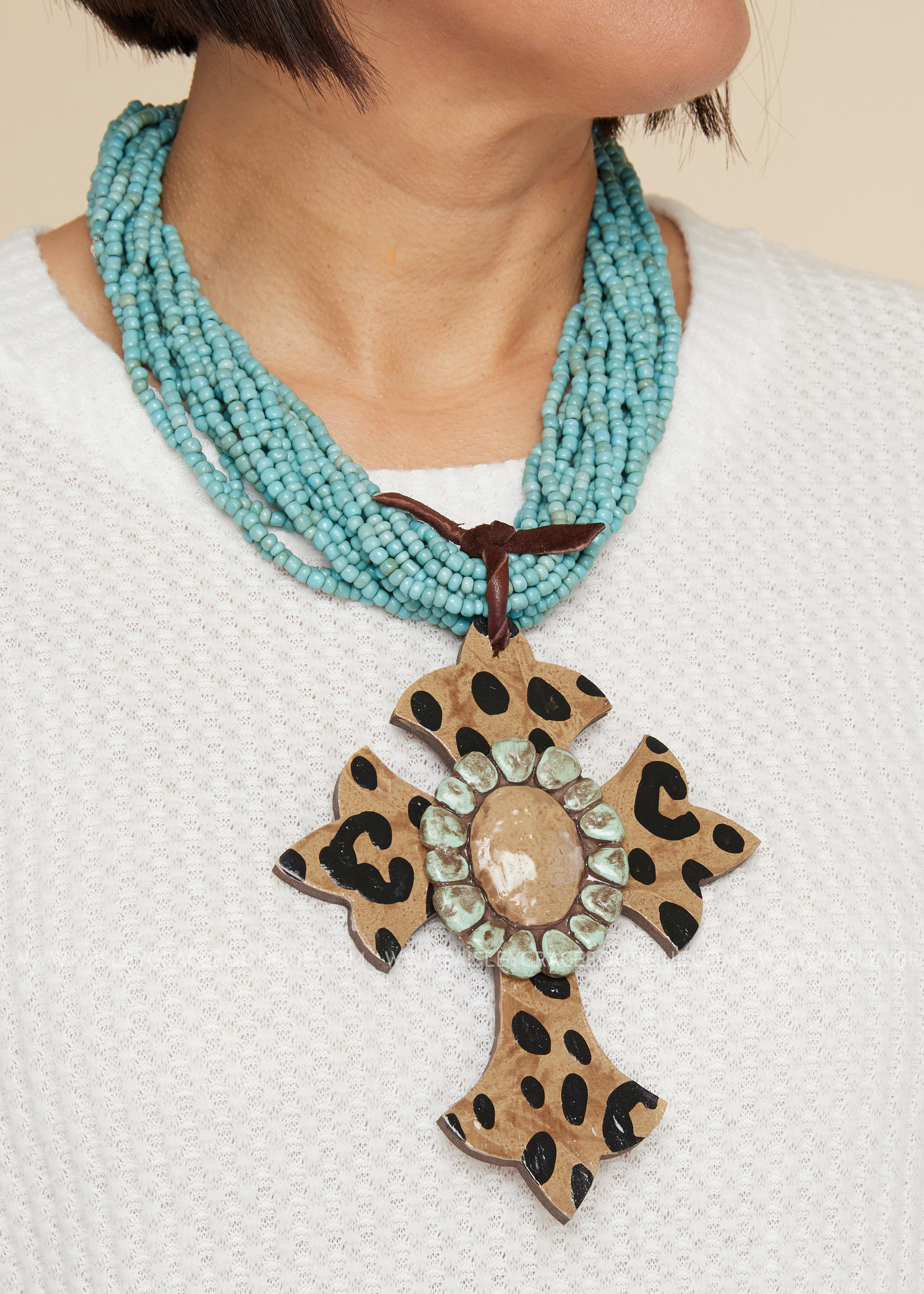 Leopard Cross Clay Seed Bead Necklace