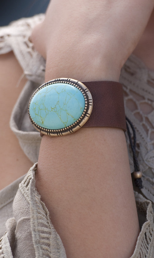 Leather Cuff Bracelet w/Turquoise Stone