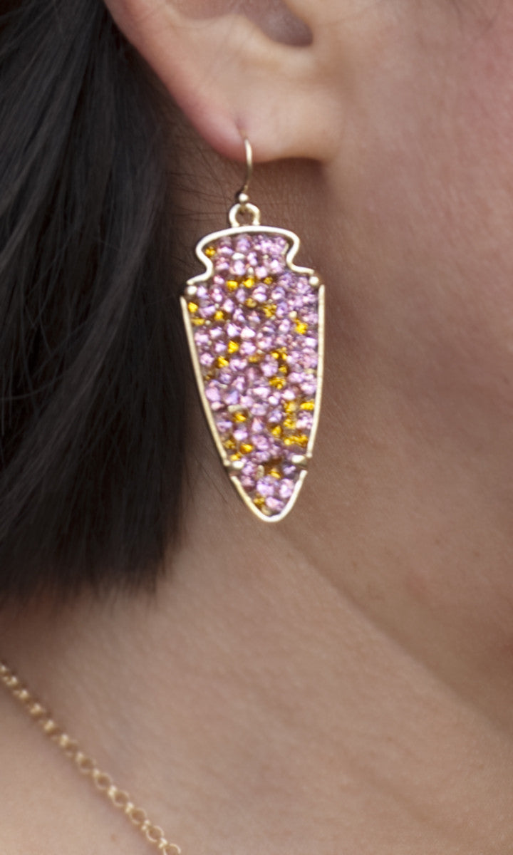 Pink Arrowhead Earrings