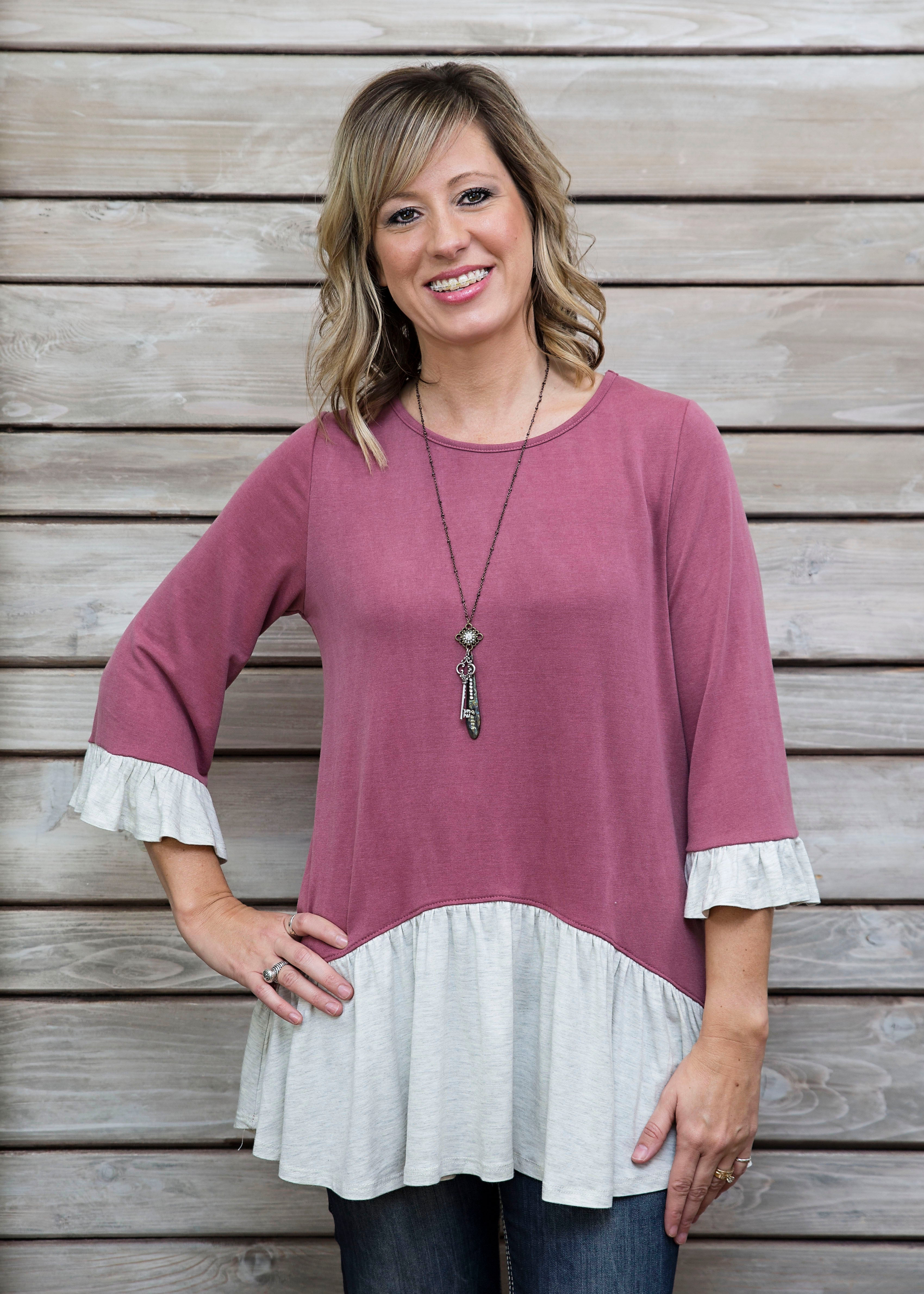 Brinley Top - MAUVE FINAL SALE