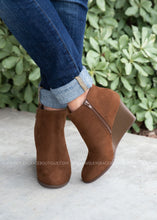 Load image into Gallery viewer, Josey Wedge Booties-BROWN - FINAL SALE