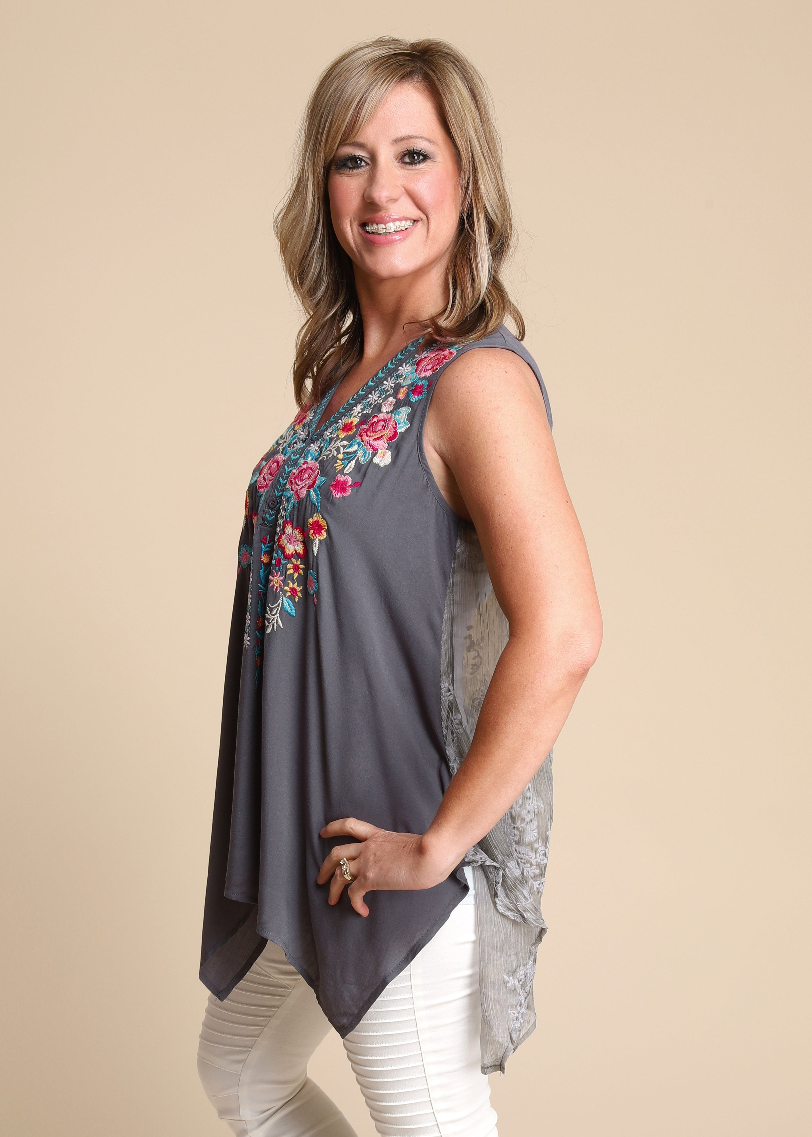 Dianora Embroidered Lace Back  Top