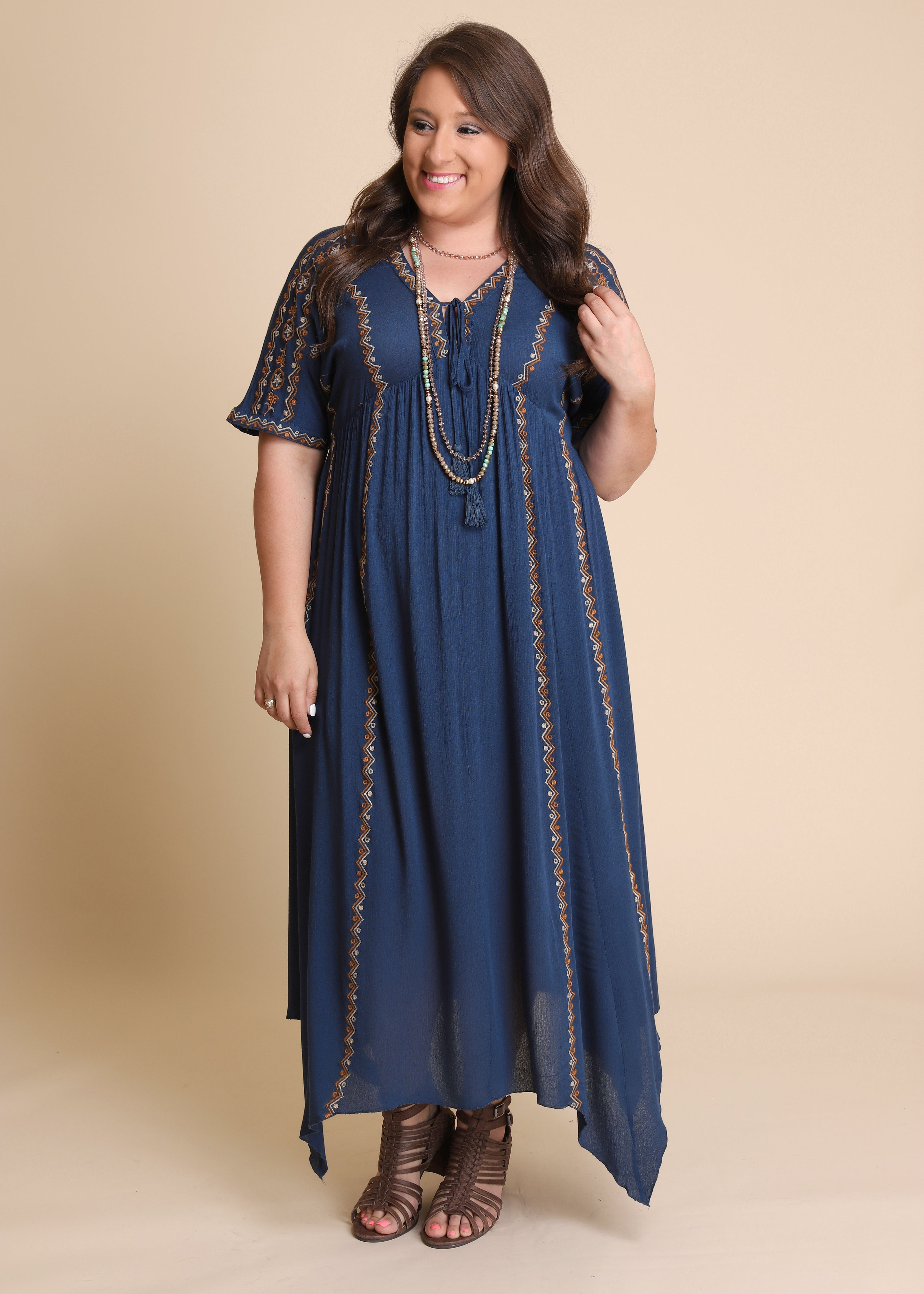 Dreamcatcher Embroidered Maxi - DK TEAL
