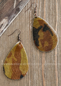 Camo Teardrop Earrings  - FINAL SALE
