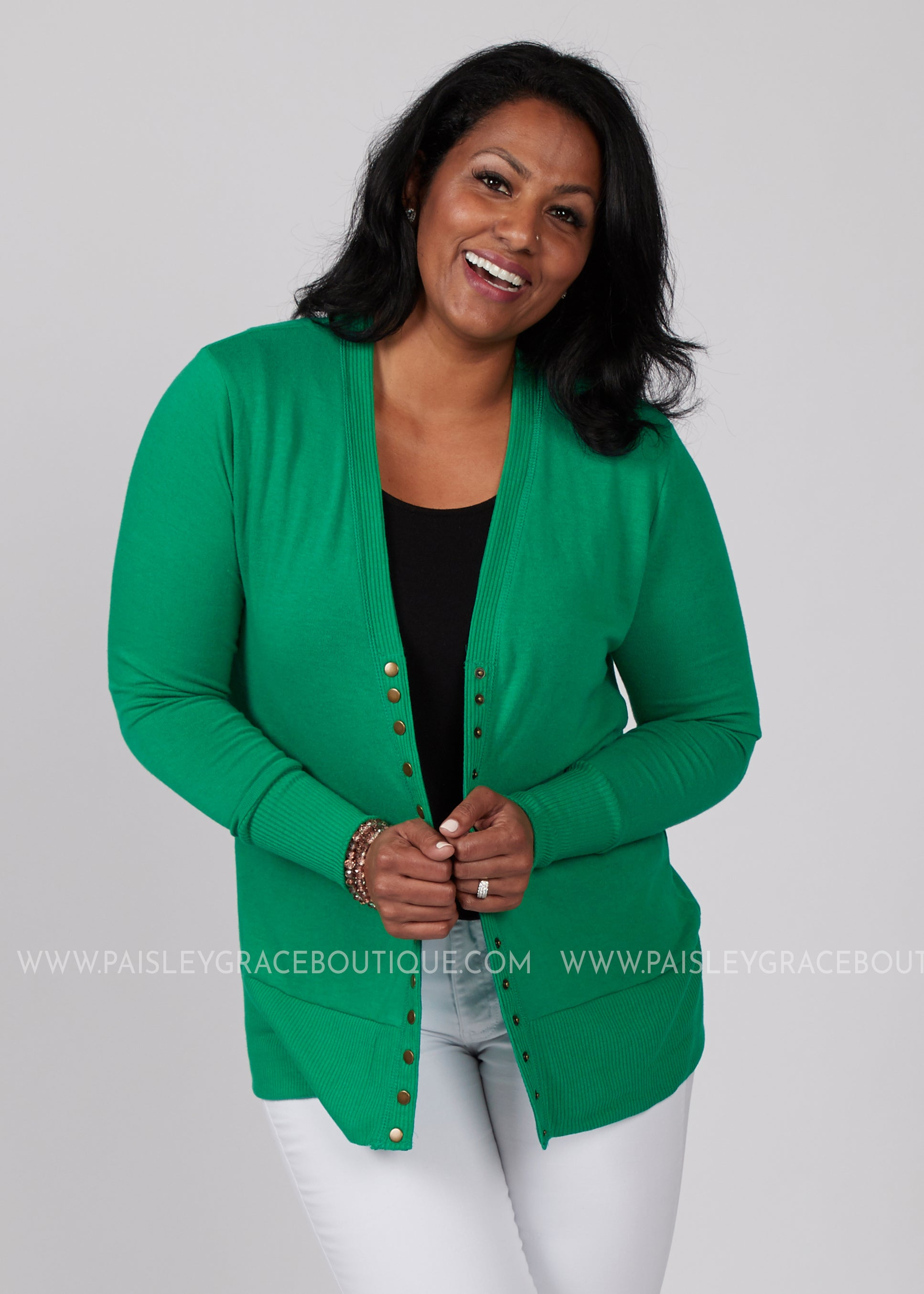 Emma Snap Button Cardigan- KELLY GREEN - FINAL SALE