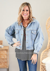 Rhiannon Denim Jacket- BLUE  - FINAL SALE
