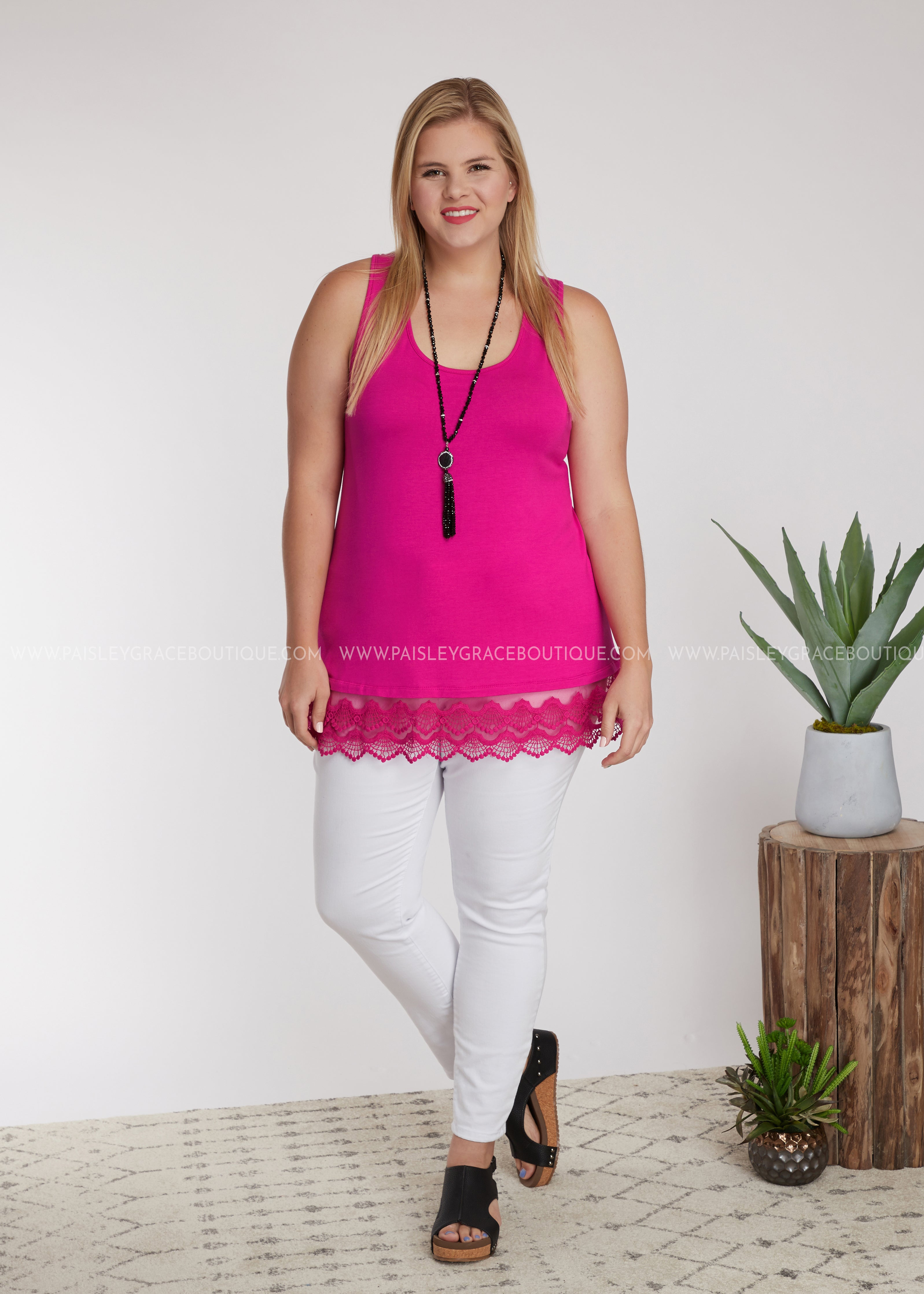 Emory Tunic Extender- HOT PINK - FINAL SALE