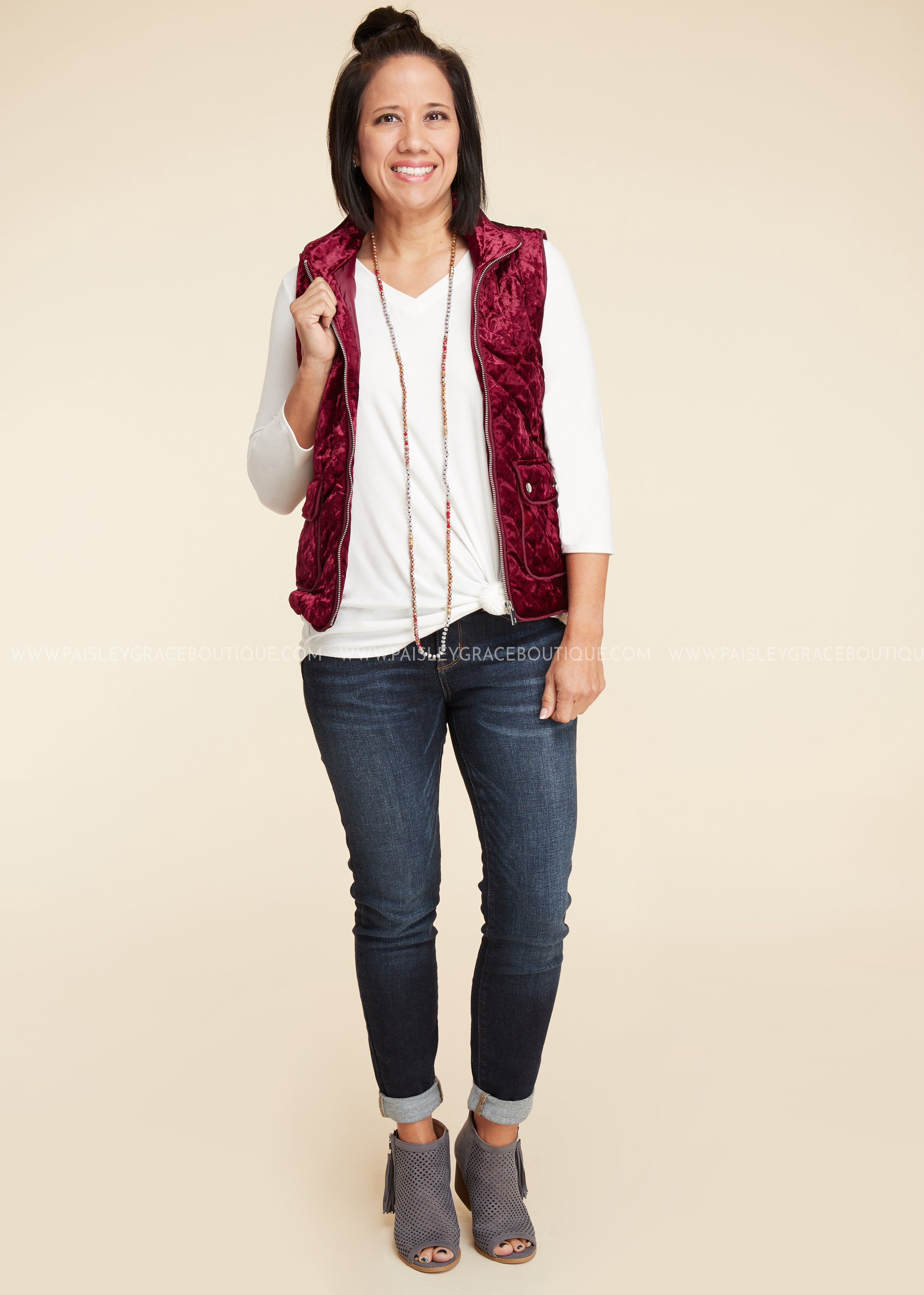 Emerson Velvet Vest- BURGUNDY - FINAL SALE