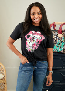Floral Rolling Stones Tee
