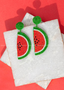 Watermelon Beaded Earrings  - FINAL SALE