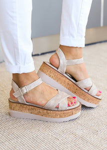Georgie Wedge Sandal by Corkys-CHAMPAGNE