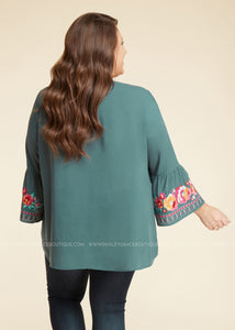 Floral Embroidered Top- TEAL  - FINAL SALE