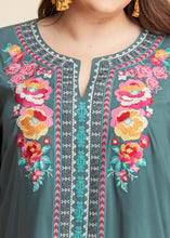 Load image into Gallery viewer, Floral Embroidered Top- TEAL  - FINAL SALE