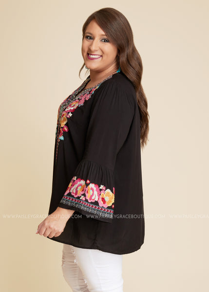 56810793189bb3 Floral Embroidered Top-BLACK-RESTOCK - Paisley Grace Boutique