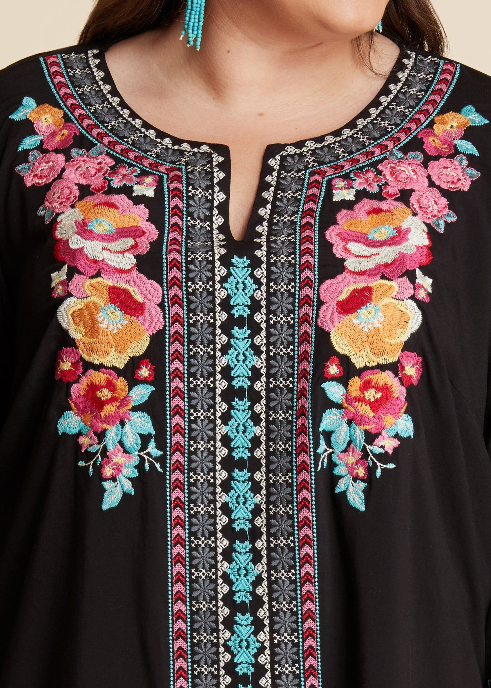 Floral Embroidered Top-BLACK-RESTOCK