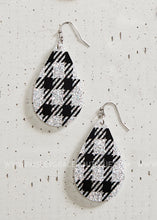 Load image into Gallery viewer, Frameless Glitter Dangle Earrings - White & Black Plaid