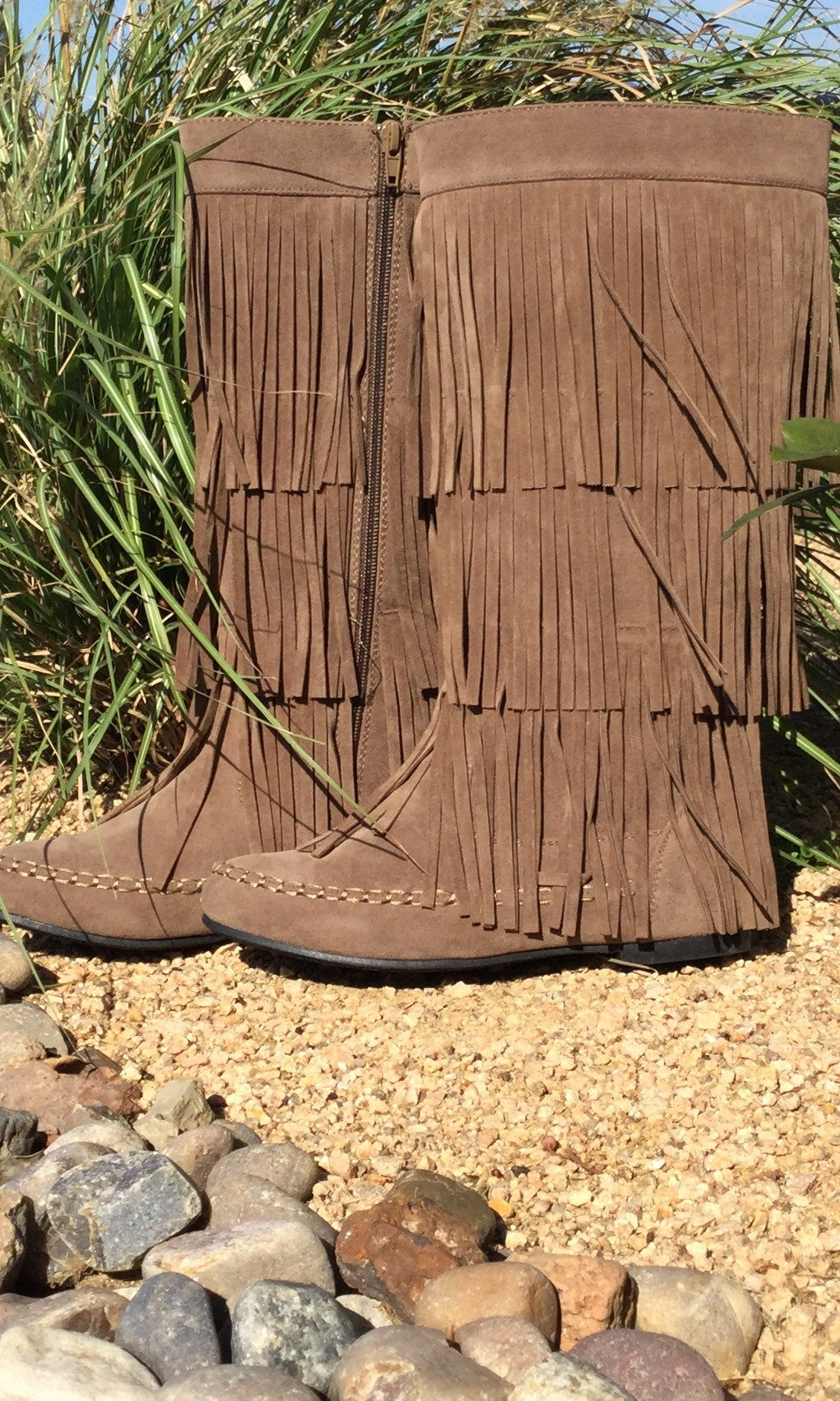 On The Fringe Boots - Taupe