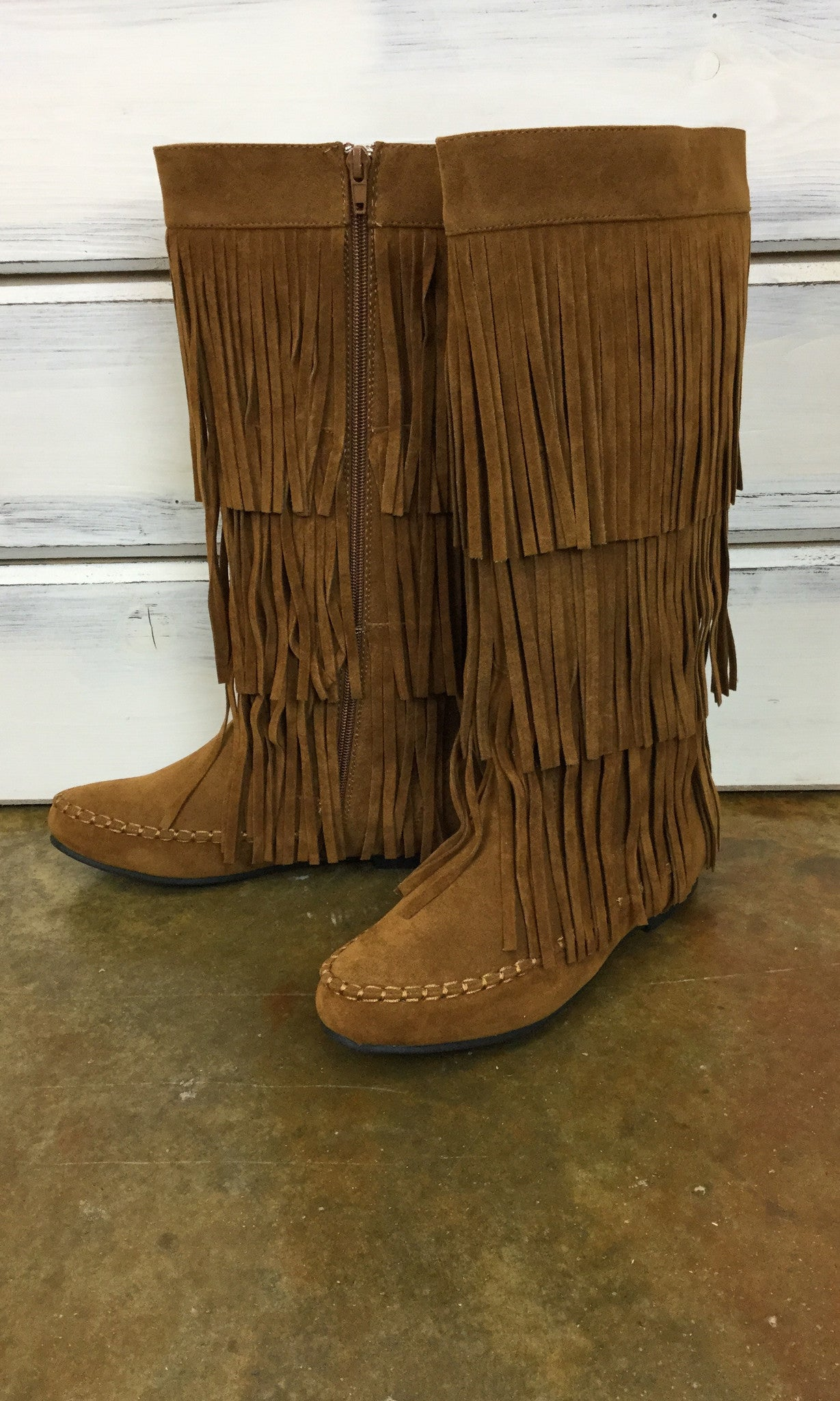 On The Fringe Boots - Tan