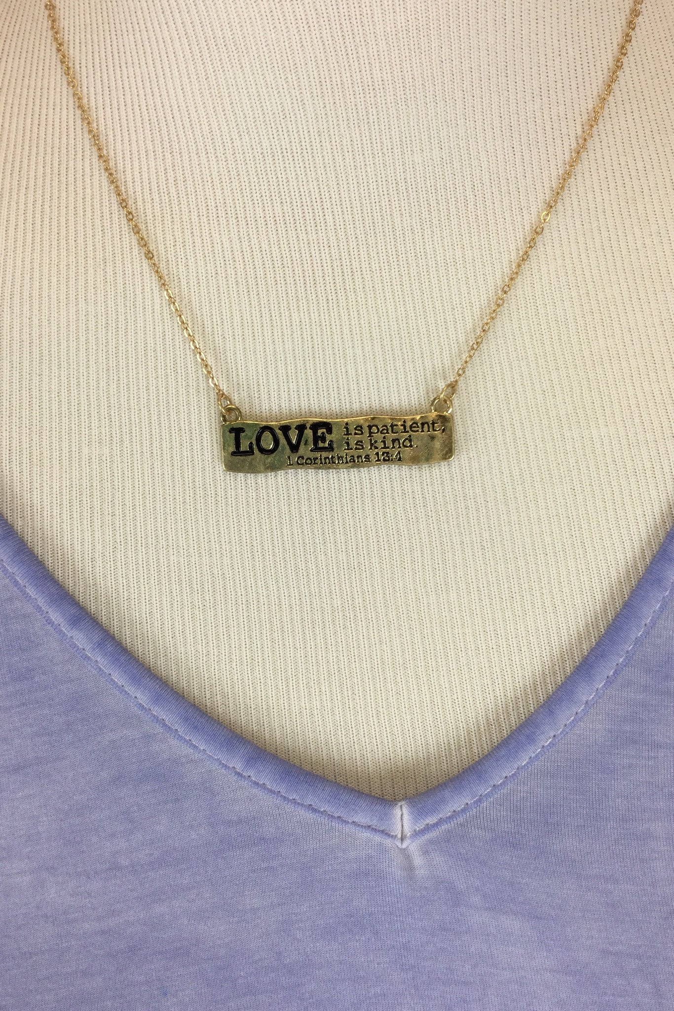 Love is Patient Necklace w/Heart Earrings