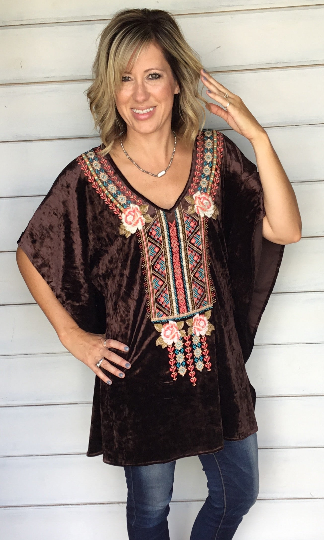 Zoey Velvet Tunic - Chocolate Brown FINAL SALE