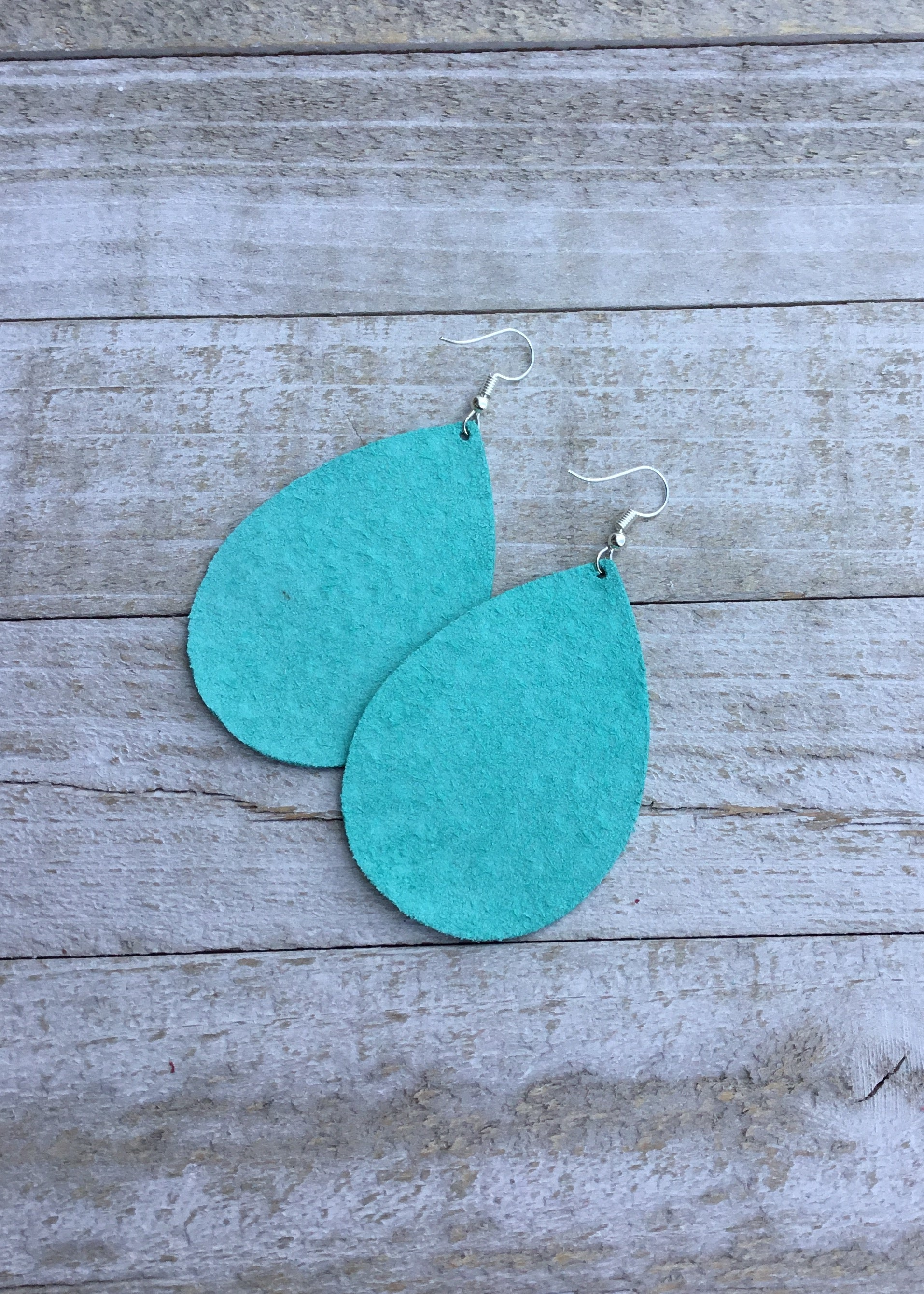 Aqua Polka Dot Teardrop Leather Earrings