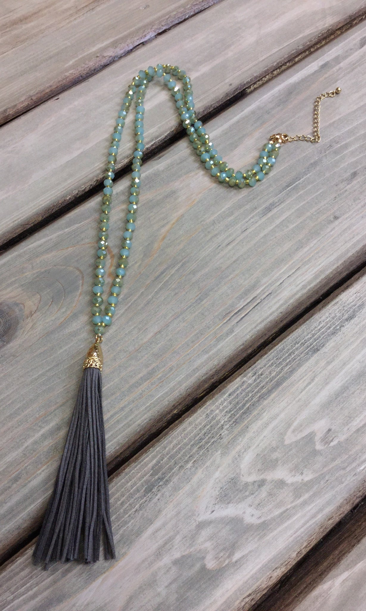 Mint Bead with Grey Tassel Necklace
