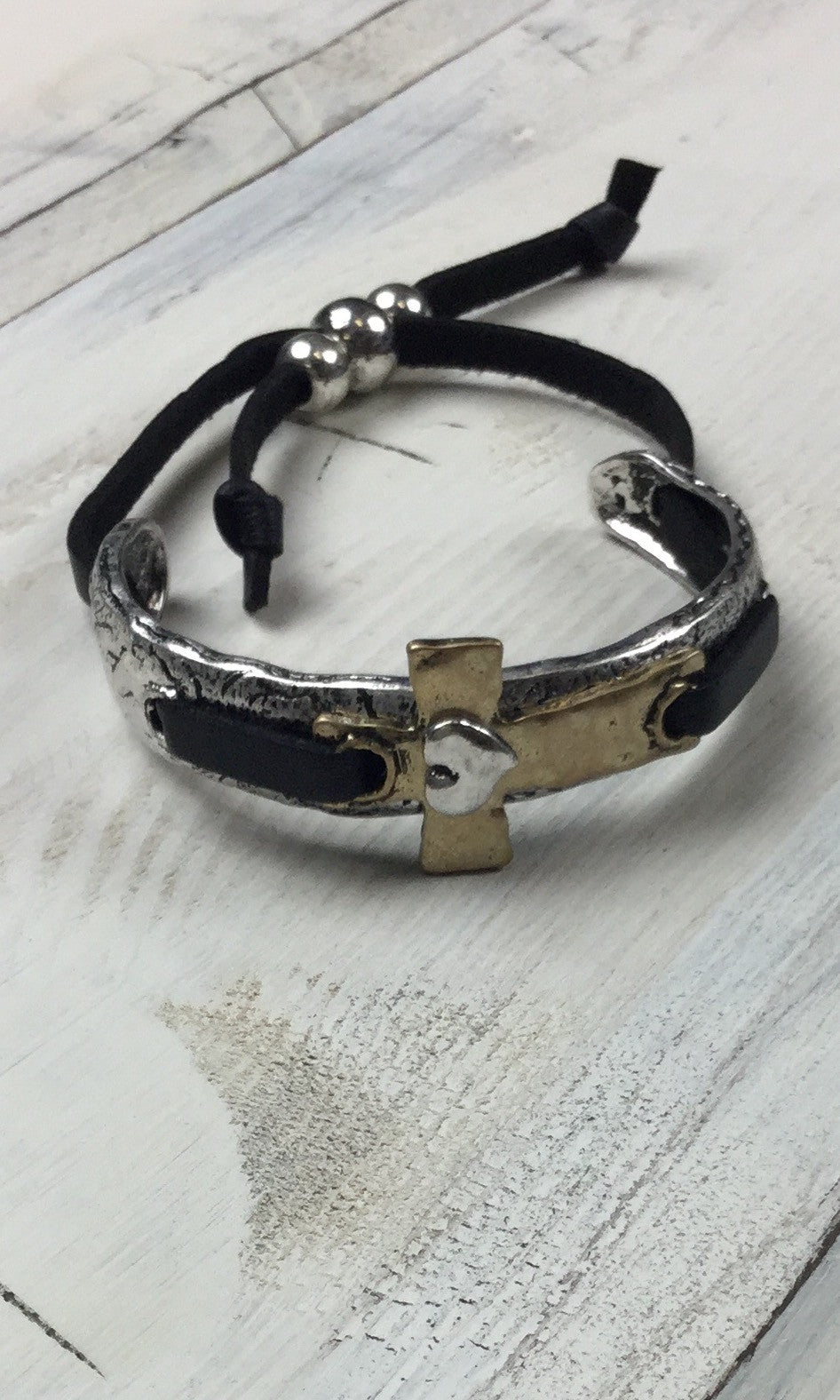 Silver & Gold Cross on Black Adjustable Bracelet