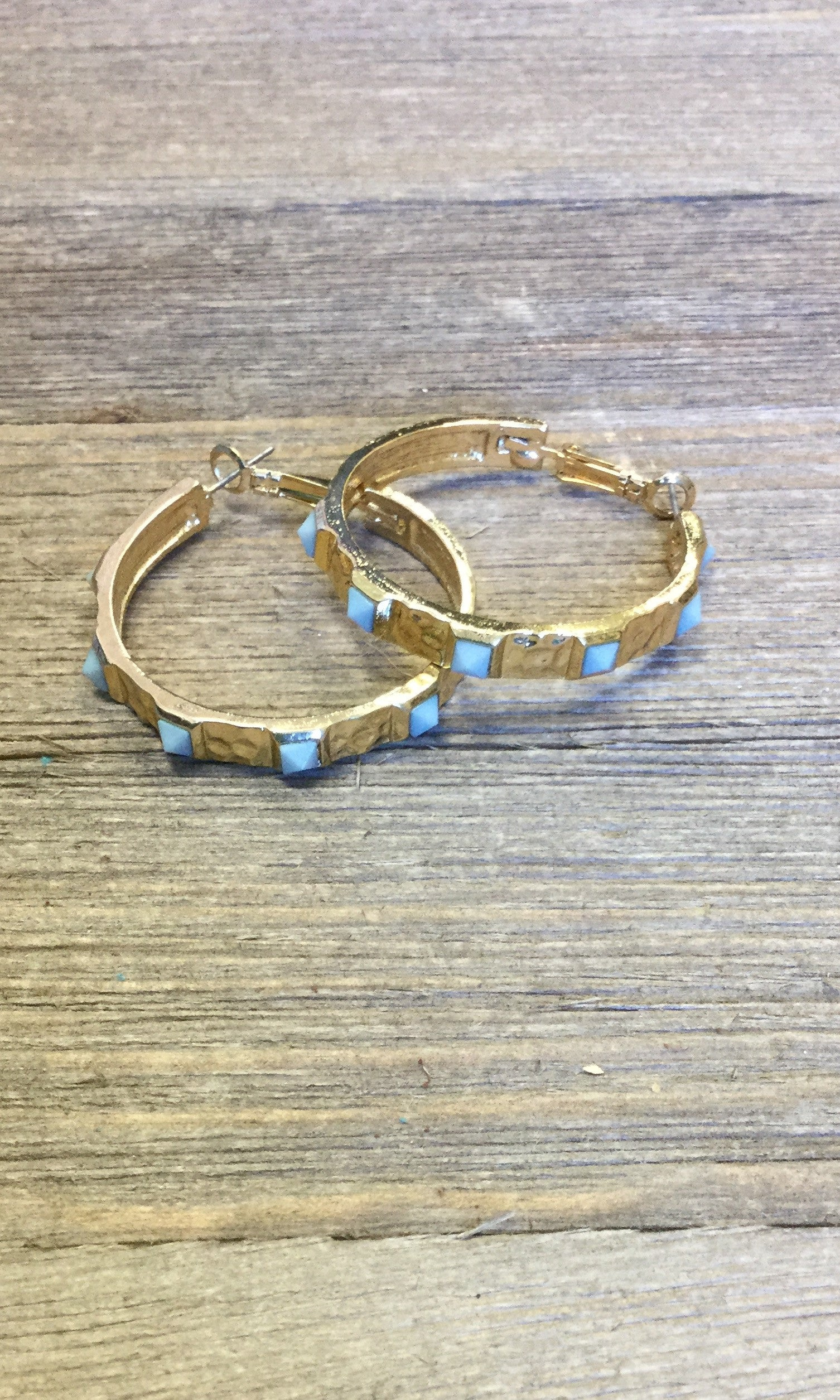 Gold Hoop Earrings w/Mint Stones