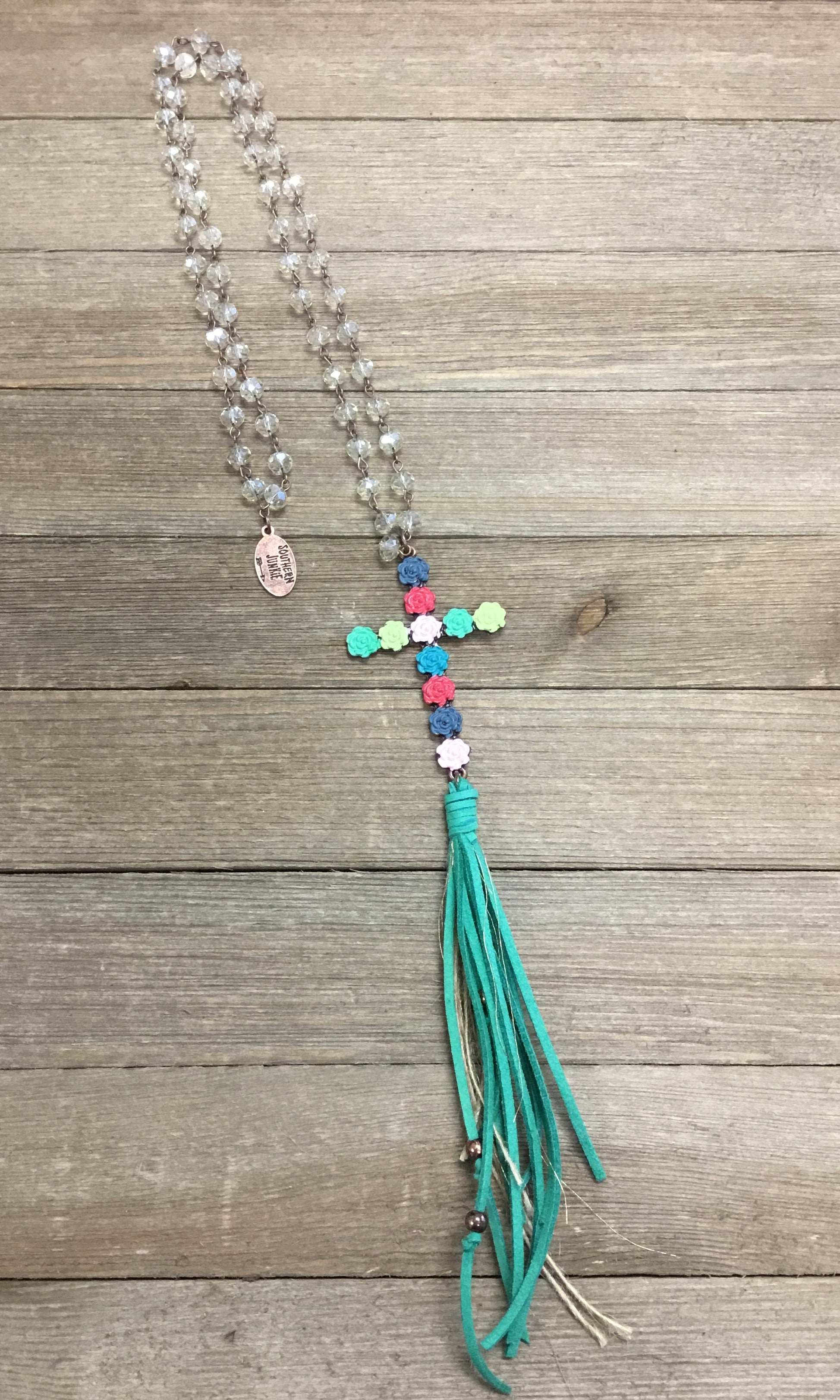 Colorful Rose Cross Tassel Necklace