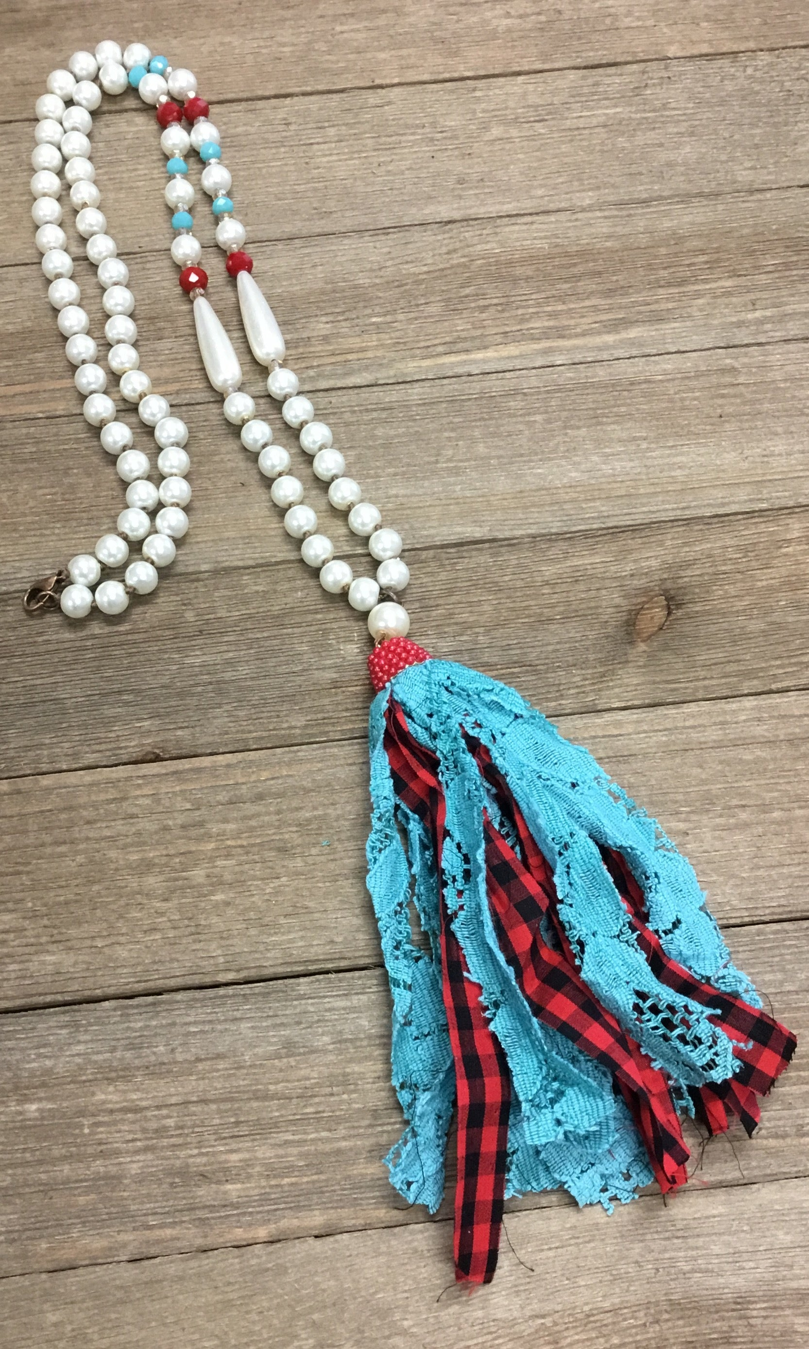 Red & Turquoise Tassel Pearl Necklace