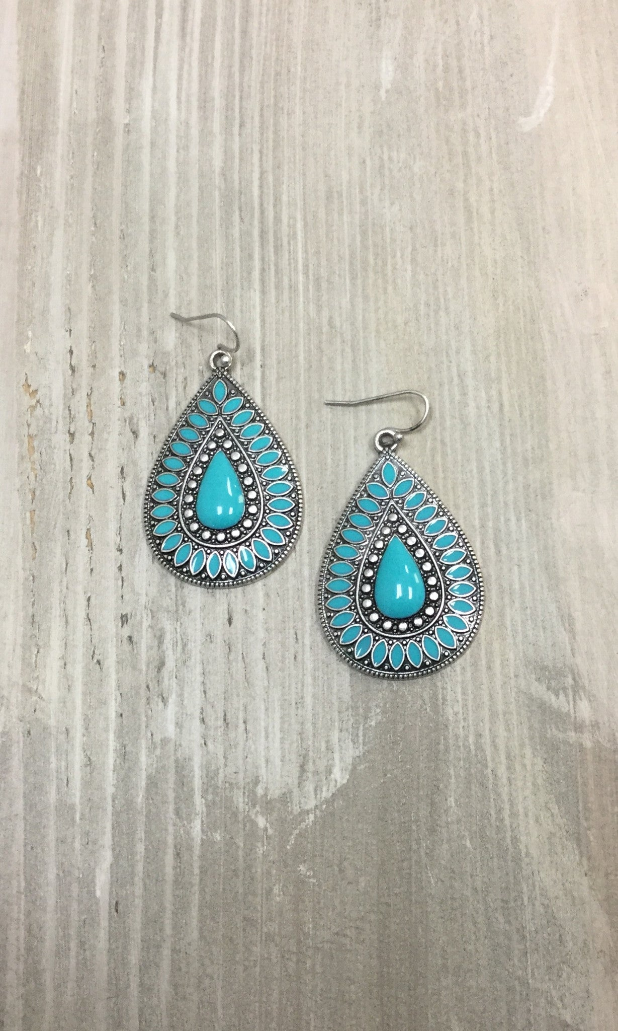 Turquoise & Silver Teardrop Earrings
