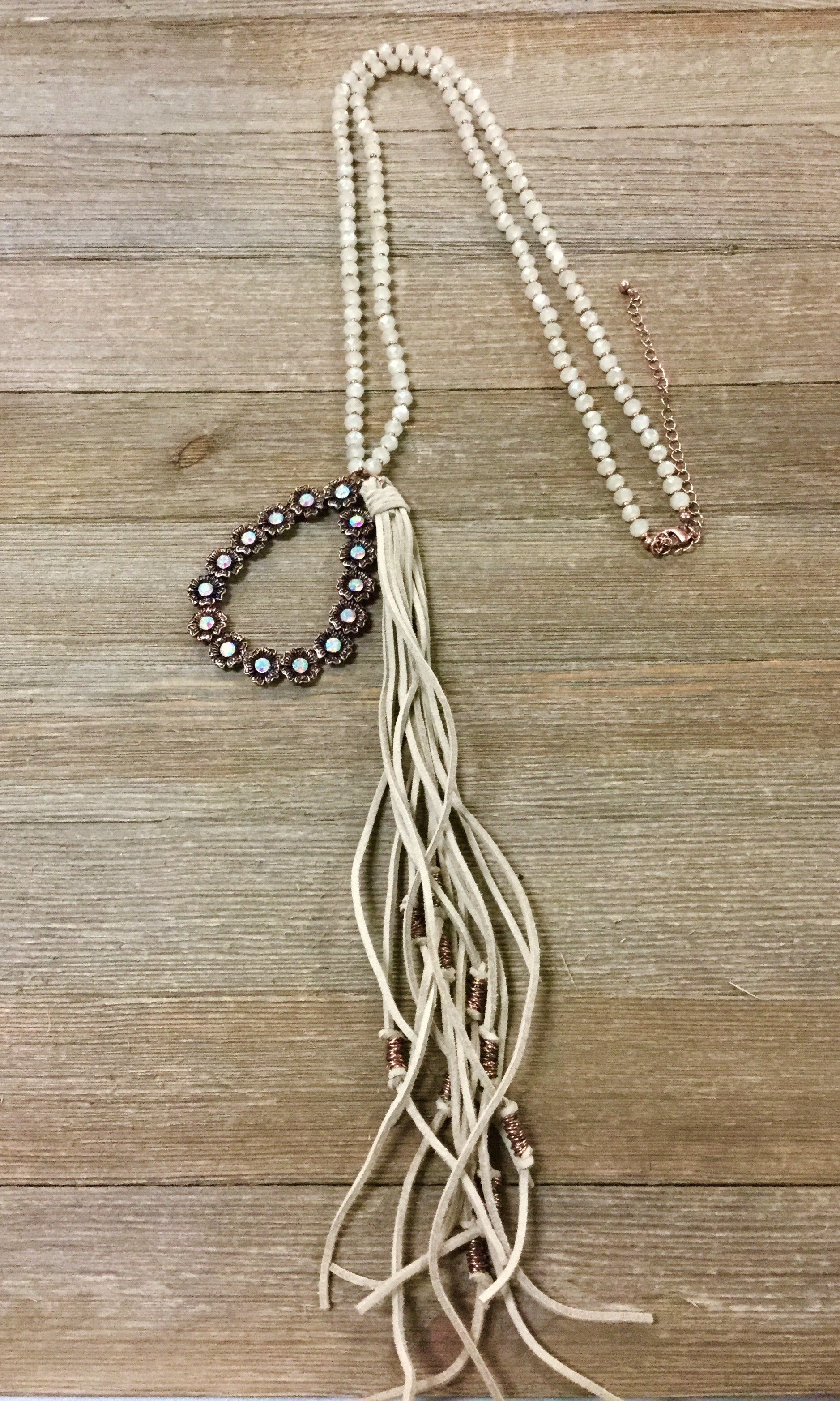 Copper Tear Drop Bling Tassel Necklace