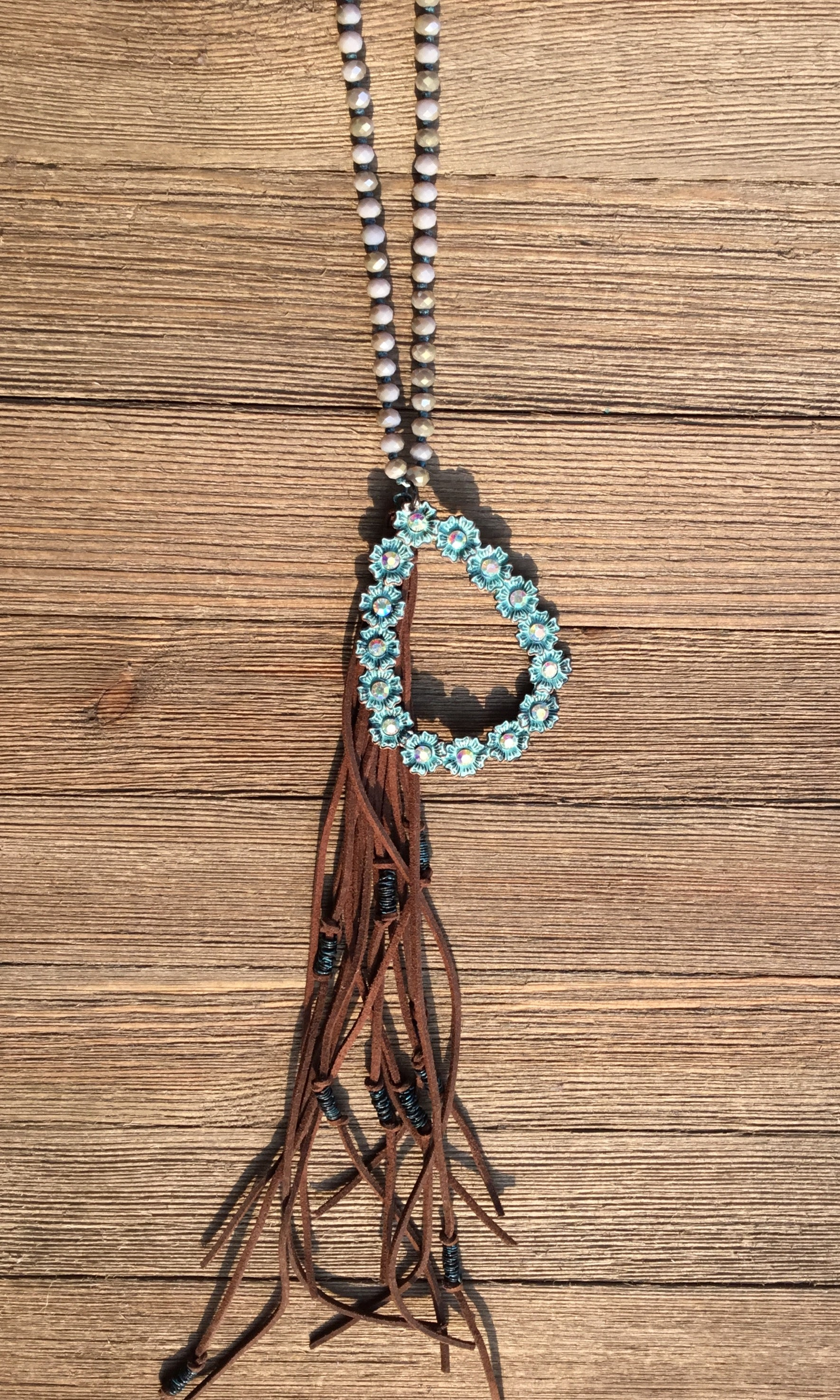 Patina Tear Drop w/Brown Tassel Necklace