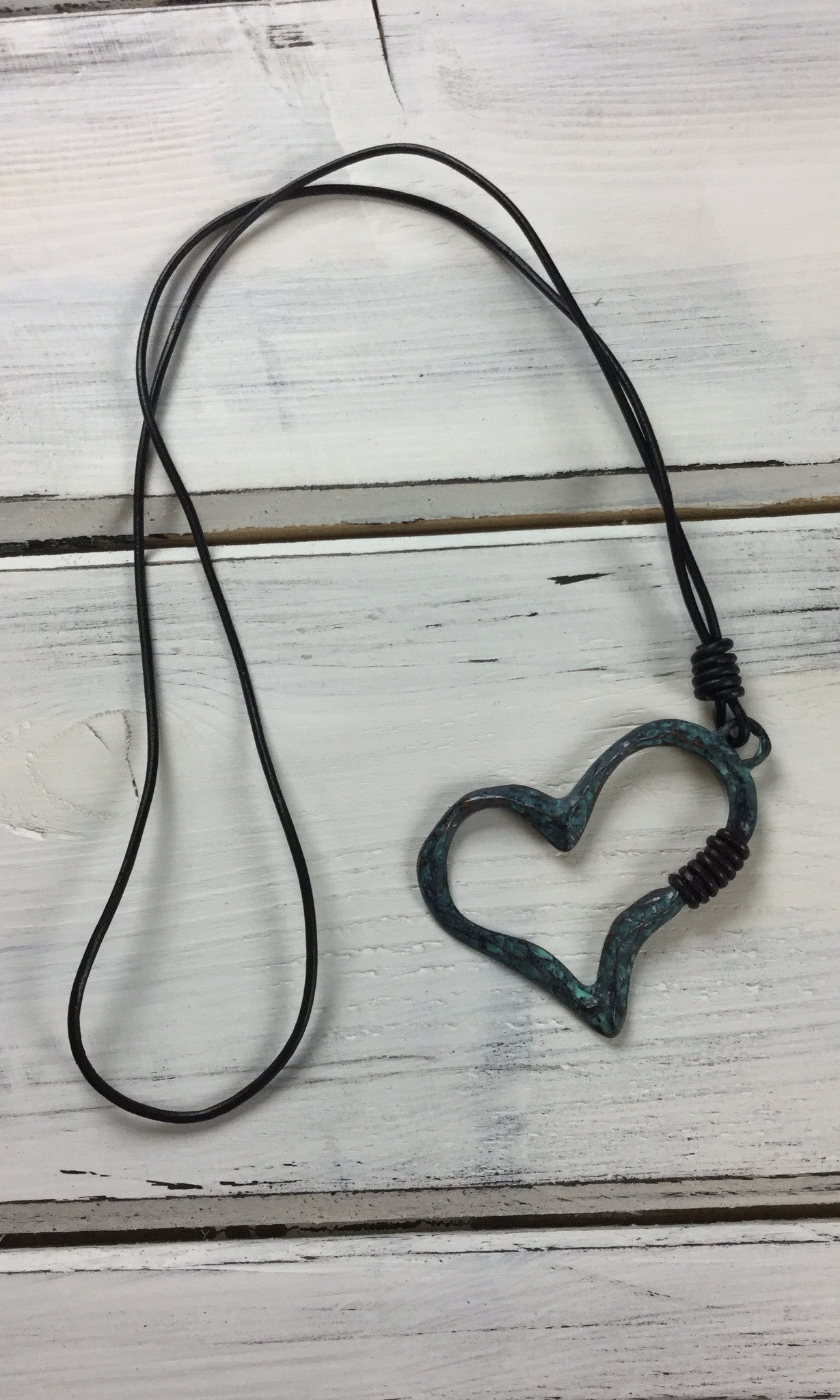 Heart Necklace on Cord - Patina