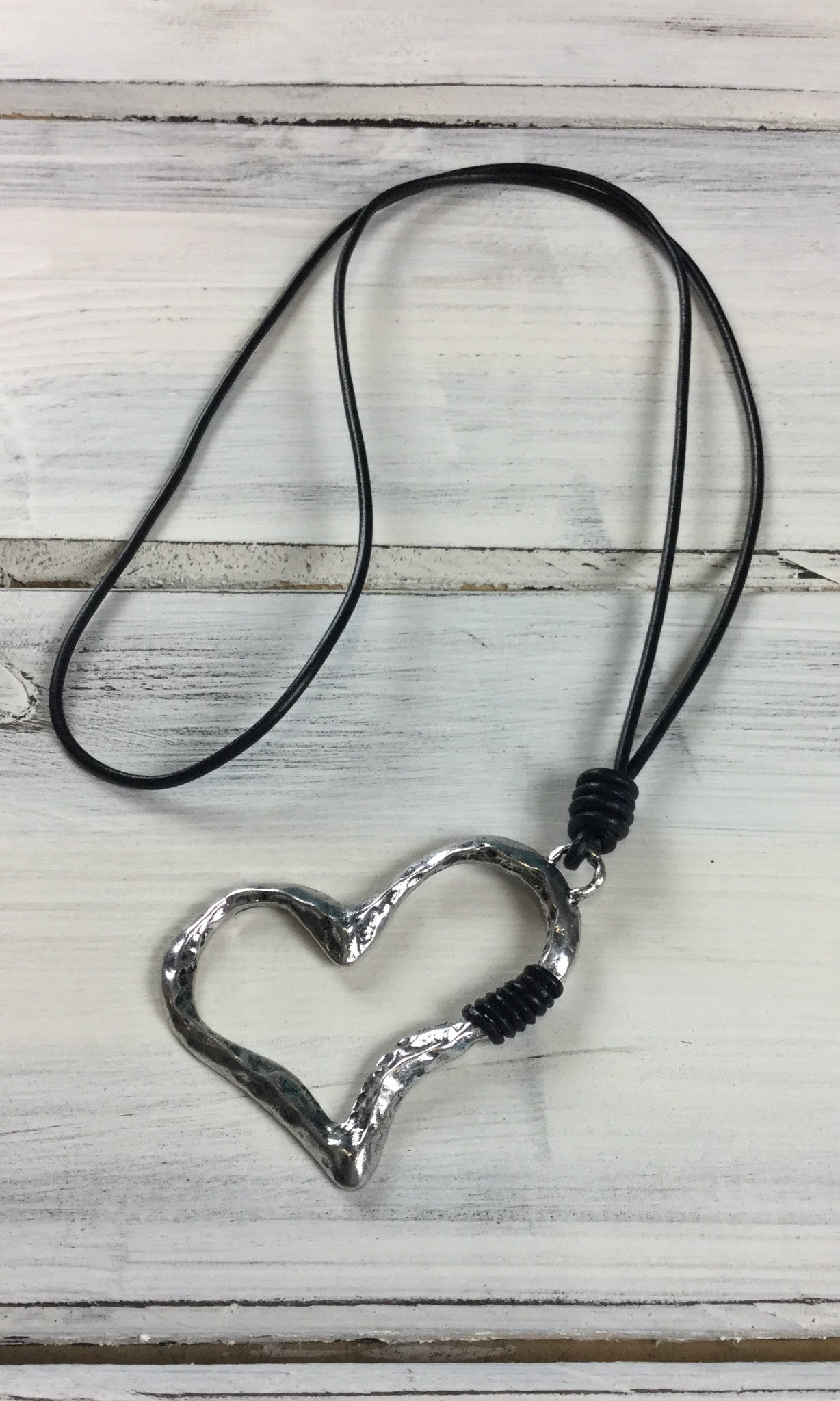 Heart Necklace on Cord - SILVER