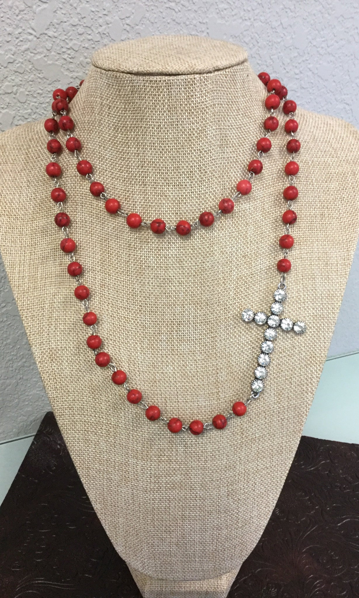 Red Bead Necklace with Bling Cross