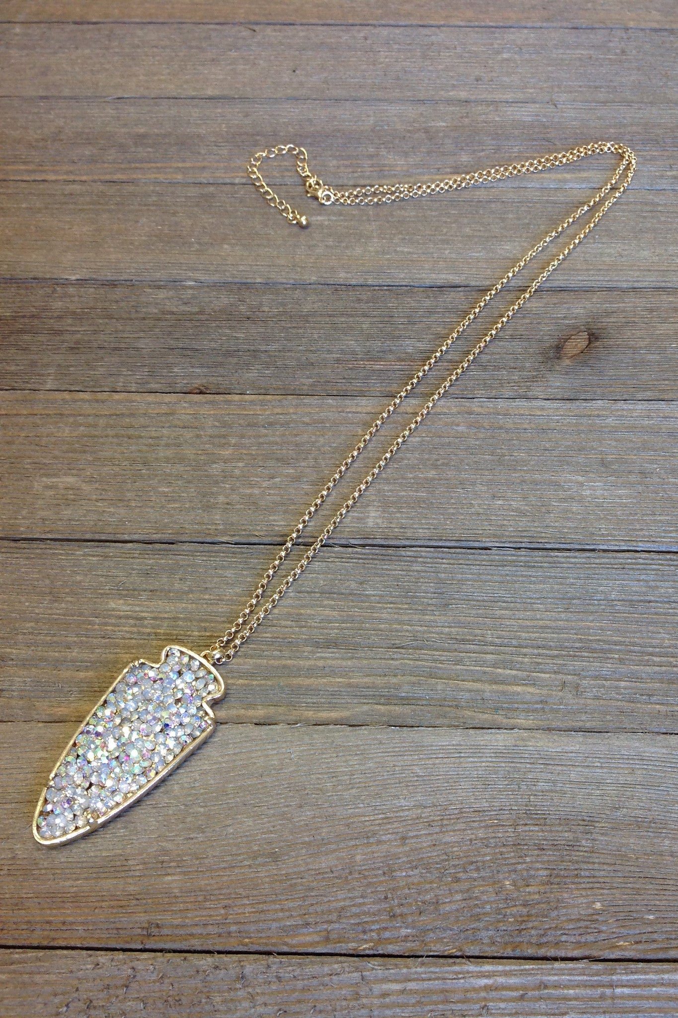 Gold Iridescent Arrowhead Necklace