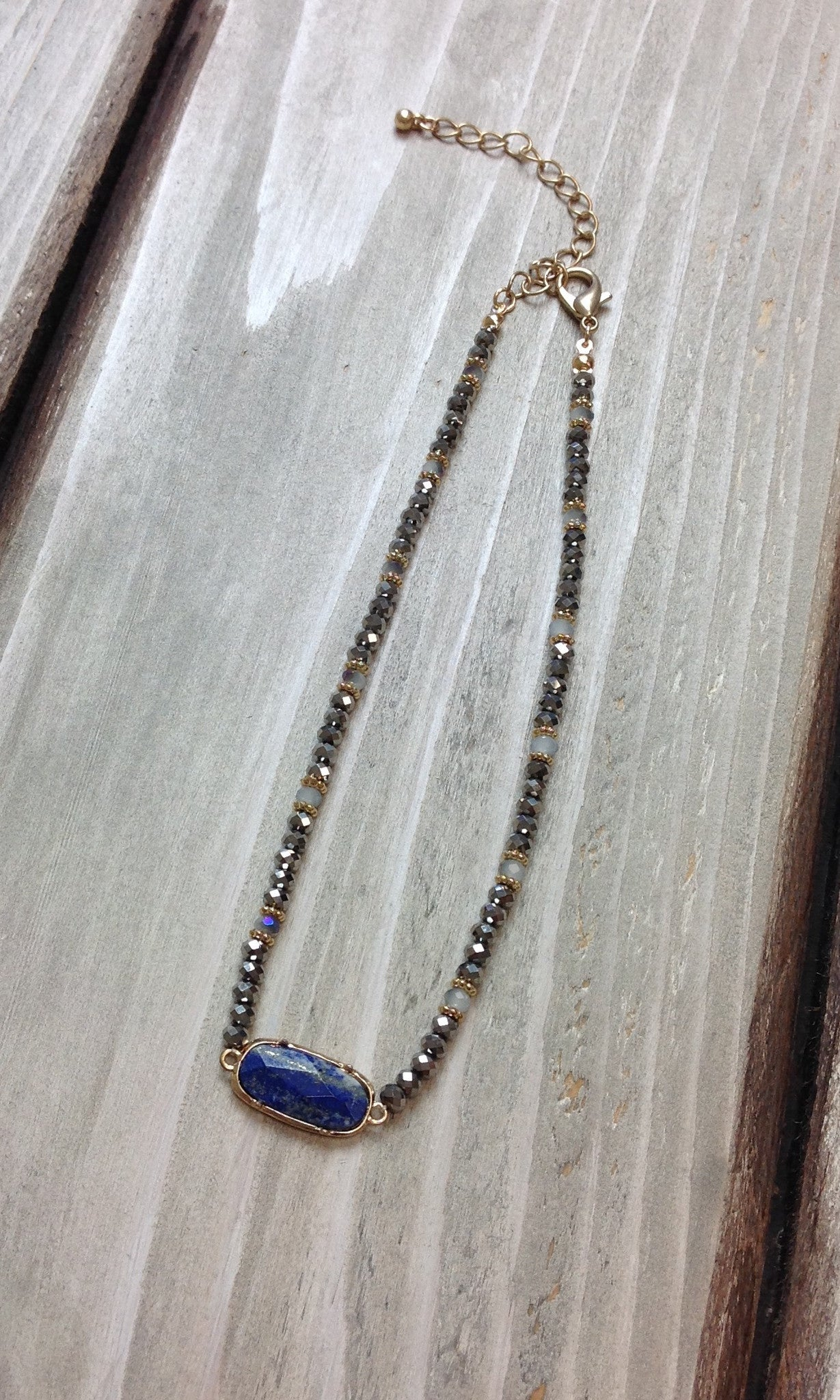 Silver Seed Bead  w/Navy Stone Necklace