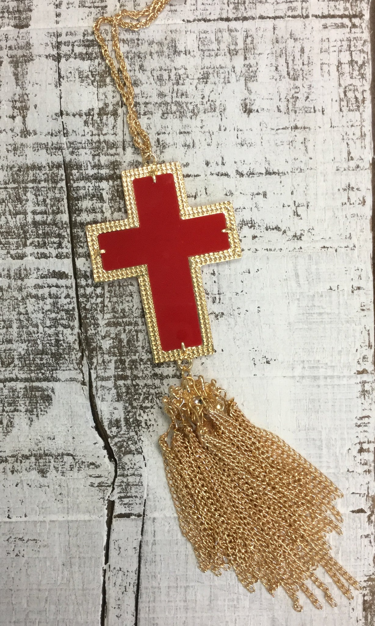 Red Cross Tassel Necklace