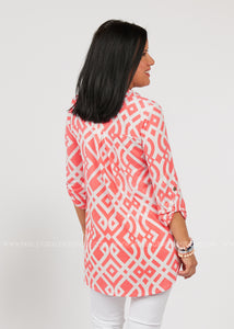 Upside Chic Top-CORAL  - FINAL SALE