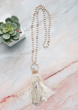 Load image into Gallery viewer, Snake & Ivory Tassel Necklace