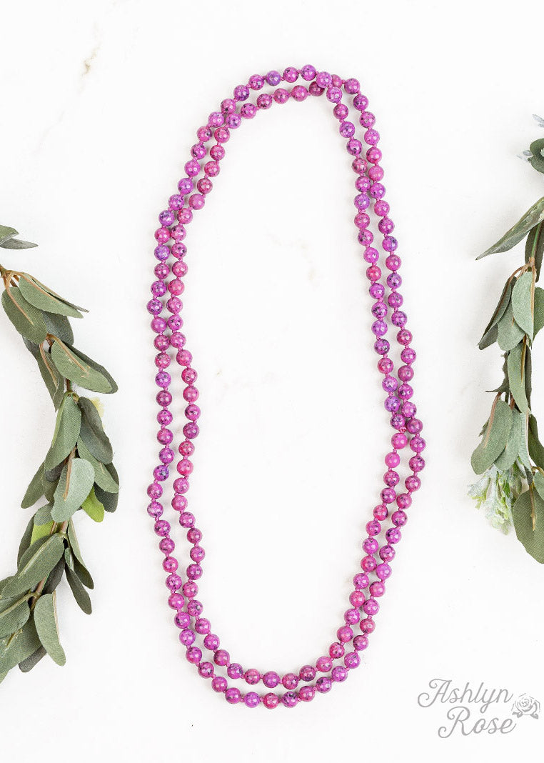 Basics Natural Stone Beaded Necklace- Fuchsia  - FINAL SALE