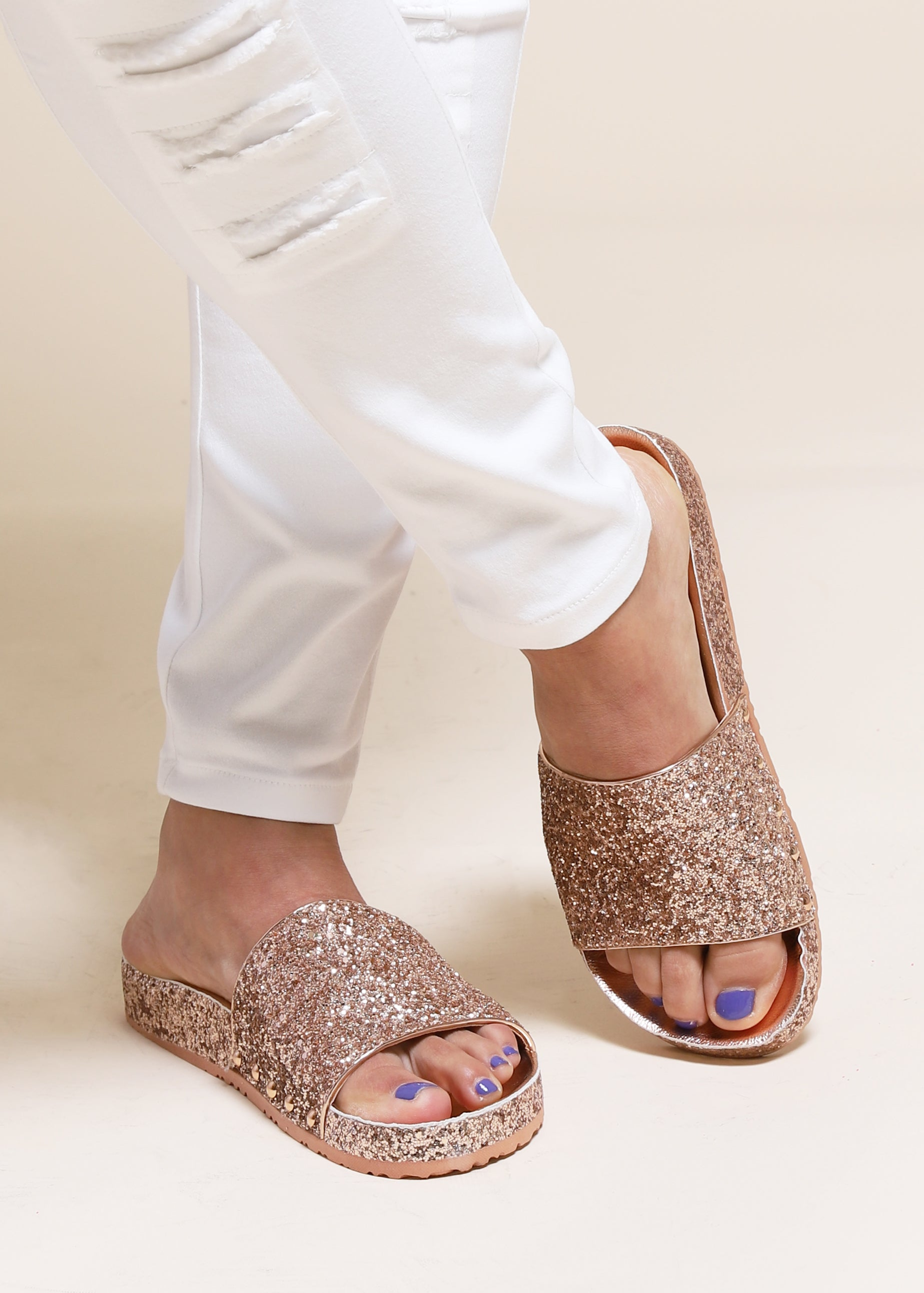 Glamour Girl Glitter Slide - Rose Gold